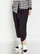 Black Casual Wool Blend Cropped Pant