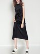 Black Slit Silk-blend Statement H-line Maxi Dress