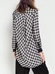 Black Asymmetric Statement Cotton-blend Checkered/Plaid Blouse