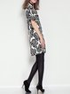 Short Sleeve Statement Silk-blend Leaf Printed Mini Dress