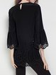 Black Pierced Plain 3/4 Sleeve Blouse
