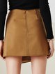 Asymmetrical Cotton-blend Buttoned Casual A-line Mini Skirt