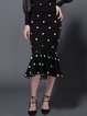 Black Mermaid Polka Dots Wool Blend Elegant Midi Dress