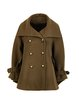 Army Green Long Sleeve Wool Blend Lapel Solid Coat