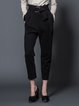 Black Plain Folds Knitted Casual Straight Leg Pants