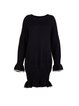 Black Frill Sleeve Knitted Midi Dress