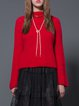 Red Plain Long Sleeve Knitted H-line Sweater