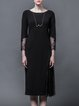 Black Knitted Casual Paneled Plain Midi Dress