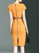 Yellow Polyester Simple Sheath Midi Dress