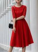 Red Ramie Half Sleeve Plain Elegant Pockets Midi Dress
