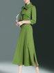 Green Bow Stand Collar Plain A-line Midi Dress