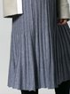 Light Gray Solid Pleated Wool Blend Midi Skirt