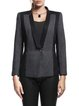 Deep Gray Pockets Lapel Simple Paneled Blazer
