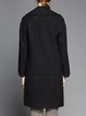 Black Pockets Long Sleeve Wool Coat