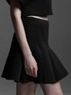 Black Solid Ruffled A-line Casual Mini Skirt