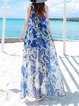 Light Blue Boho Chiffon Crew Neck Floral Maxi Dress
