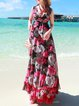 Black Sleeveless Chiffon Floral Maxi Dress