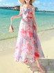 Light Blue Boho Chiffon Spaghetti Floral Midi Dress