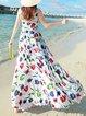Floral Boho Crew Neck Sleeveless Maxi Dress