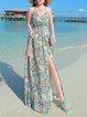 Boho Floral-print Spaghetti Maxi Dress