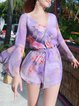 Purple Chiffon V Neck Frill Sleeve Floral Romper