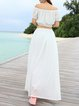White Shirred Girly Off Shoulder Two Piece Maxi Dress