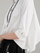 Asymmetric 3/4 Sleeve Simple Shirt Collar Cotton Blouse