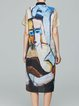 Multicolor Abstract Printed Simple Midi Dress