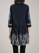 Casual A-line Embroidered 3/4 Sleeve Tribal Mini Dress