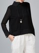 Black Casual High Low Zipper Long Sleeved Top