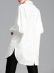 White Asymmetrical Casual Shirt Collar Slit Zipper Tunic