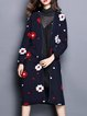 Long Sleeve Floral Appliqued Casual Coat