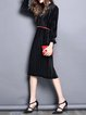 Casual Pleated Frill Sleeve Velvet Midi Dress with Pockets