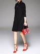 Black Fringed Shift Long Sleeve Sweater Dress