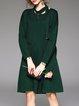 Green Plain Long Sleeve Sweater Dress
