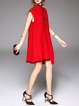 Red Knitted Casual Asymmetric Plain Sweater Dress