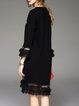 Black Knitted Paneled Casual Sweater Dress