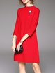 Red Casual Plain Knitted Sweater Dress