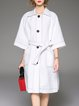 White Casual H-line Pockets Coat