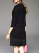 Black Paneled A-line Crew Neck Appliqued Casual Mini Dress