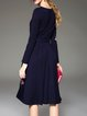 Dark Blue Embroidered Elegant A-line Midi Dress
