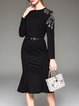 Black Mermaid Elegant Long Sleeve Beaded Midi Dress