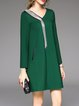 Green Shift Long Sleeve V Neck Cotton-blend Mini Dress