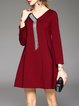 Wine Red H-line Pockets Cotton-blend Long Sleeve Mini Dress