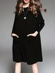 Black Crew Neck Batwing Shift Knitted Sweater Dress