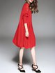 Red Shift Knitted Pockets Batwing Sweater Dress