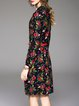 Black Floral Printed Sheath Long Sleeve Midi Dress
