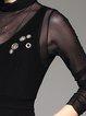 Black Cotton-blend Casual A-line Plain Mini Dress