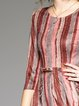 Multicolor Crew Neck Stripes Pockets Suede Midi Dress
