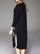 Black Crew Neck H-line Casual Slit Sweater Dress